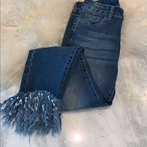 EUC! Forever 21 high waisted, frayed edge jeans, S